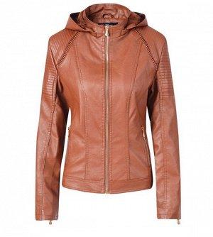 Женская утепленная куртка из эко-кожи, с капюшоном, цвет коричневый