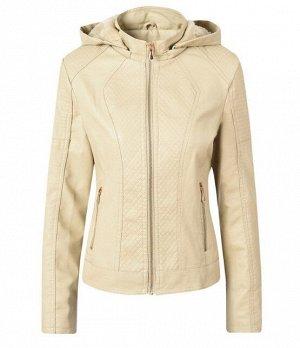 Женская комбинированная утепленная куртка из эко-кожи, с капюшоном, цвет кремовый