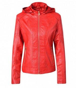 Женская комбинированная утепленная куртка из эко-кожи, с капюшоном, цвет красный