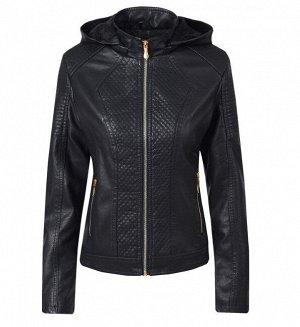 Женская комбинированная утепленная куртка из эко-кожи, с капюшоном, цвет черный