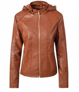 Женская комбинированная утепленная куртка из эко-кожи, с капюшоном, цвет коричневый