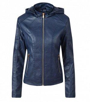 Женская комбинированная утепленная куртка из эко-кожи, с капюшоном, цвет синий