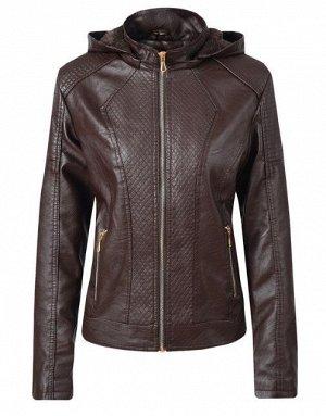 Женская комбинированная утепленная куртка из эко-кожи, с капюшоном, цвет темно-коричневый