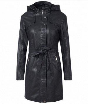 Женская удлиненная куртка из эко-кожи, утепленная, с капюшоном, цвет черный