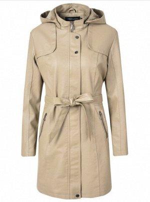 Женская удлиненная куртка из эко-кожи, утепленная, с капюшоном, цвет кремовый
