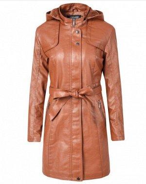 Женская удлиненная куртка из эко-кожи, утепленная, с капюшоном, цвет коричневый