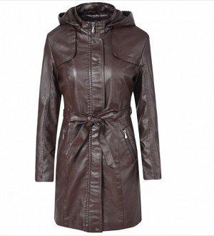 Женская удлиненная куртка из эко-кожи, утепленная, с капюшоном, цвет темно-коричневый