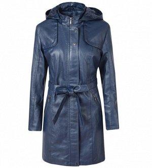 Женская удлиненная куртка из эко-кожи, утепленная, с капюшоном, цвет синий