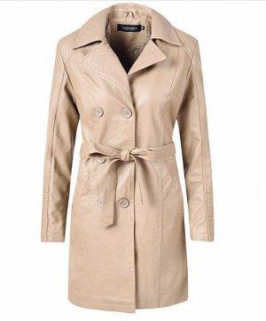 Женская удлиненная куртка из эко-кожи, утепленная, на пуговицах, цвет кремовый