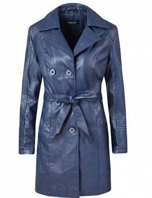 Женская удлиненная куртка из эко-кожи, утепленная, на пуговицах, цвет синий
