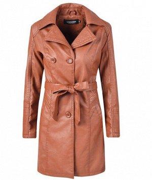 Женская удлиненная куртка из эко-кожи, утепленная, на пуговицах, цвет коричневый