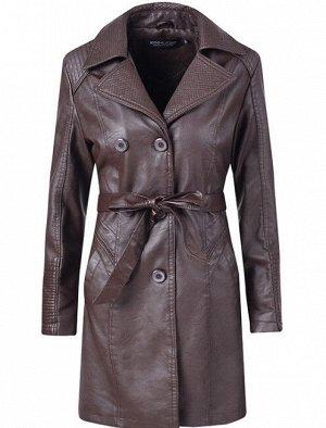 Женская удлиненная куртка из эко-кожи, утепленная, на пуговицах, цвет темно-коричневый