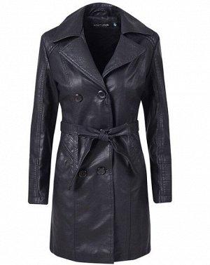 Женская удлиненная куртка из эко-кожи, утепленная, на пуговицах, цвет черный