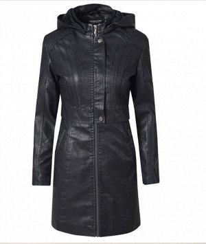 Женская удлиненная куртка из эко-кожи, утепленная, на молнии, цвет черный