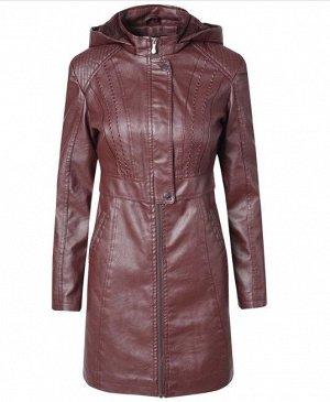 Женская удлиненная куртка из эко-кожи, утепленная, на молнии, цвет винный