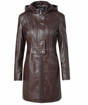 Женская удлиненная куртка из эко-кожи, утепленная, на молнии, цвет темно-коричневый