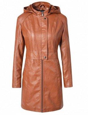 Женская удлиненная куртка из эко-кожи, утепленная, на молнии, цвет коричневый