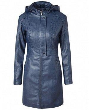 Женская удлиненная куртка из эко-кожи, утепленная, на молнии, цвет синий