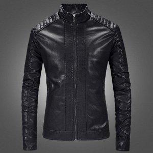 Мужская куртка из эко-кожи, на молнии, цвет черный
