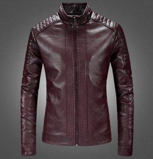 Мужская куртка из эко-кожи, на молнии, цвет винный