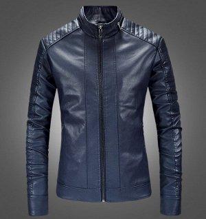Мужская куртка из эко-кожи, на молнии, цвет синий