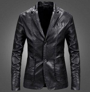 Мужская куртка-пиджак из эко-кожи, на пуговицах, цвет черный