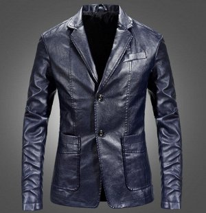Мужская куртка-пиджак из эко-кожи, на пуговицах, цвет синий
