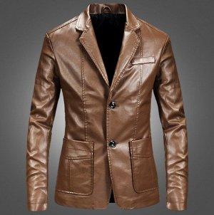 Мужская куртка-пиджак из эко-кожи, на пуговицах, цвет коричневый