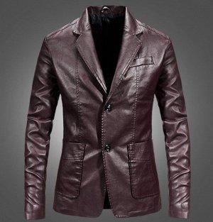 Мужская куртка-пиджак из эко-кожи, на пуговицах, цвет винный