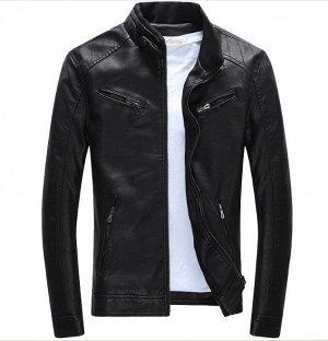 Мужская куртка из эко-кожи, цвет черный