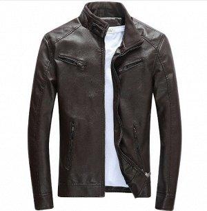 Мужская куртка из эко-кожи, цвет темно-коричневый