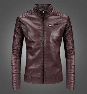 Мужская комбинированная куртка из эко-кожи, цвет винный