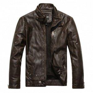 Мужская  куртка из эко-кожи, кнопка на воротнике, цвет темно-коричневый