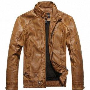 Мужская  куртка из эко-кожи, кнопка на воротнике, цвет коричневый