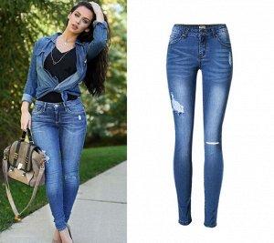 """Женские джинсы скинни, принт """"Потертости и разрез на колене"""", цвет синий"""