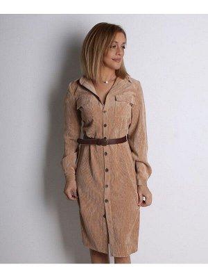 00829 Платье из вельвета песочное
