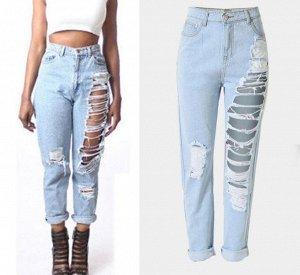 """Женские """"рваные"""" джинсы слим, разрезы от начала бедра до колена, цвет голубой"""