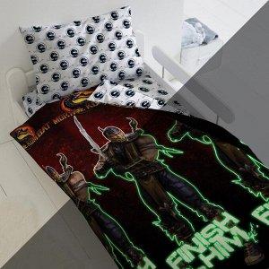"""КПБ 1.5 поплин """"Mortal Kombat"""" Neon (70х70) рис. 16278-1/16275-1 Скорпион"""