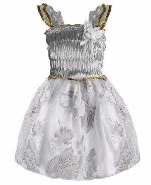 Белое нарядное платье для девочки Цвет: серебро