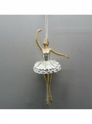 Балерина 14 см полирезин цвет золотой/белый елочное украшение