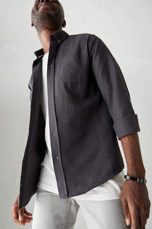рубашка Размеры модели: рост: 1,88 грудь: 95 талия: 70 Надет размер: L  Хлопок 60%, Полиэстер 40%