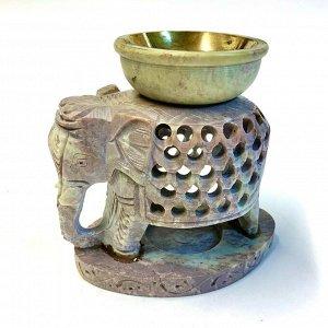 Аромалампа Слон, камень (Индия), 11 см, чаша с бронзовой вставкой