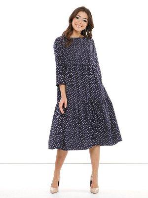 """Платье """"Дженнифер"""" (синий, принт) П2065"""