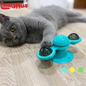 Вращающаяся грушка для кошек с шариками