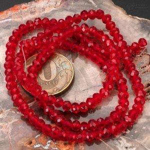 Рондели хрустальные, имитация Сваровски, цвет рубиновый, р-р 4х3мм, отв 1мм, в нитке 140 бусин.