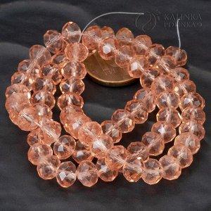 Бусины хрустальные рондели, имитация Сваровски, цвет винтажной розы, р-р 8х6мм, в нитке 40см/69 бусин.