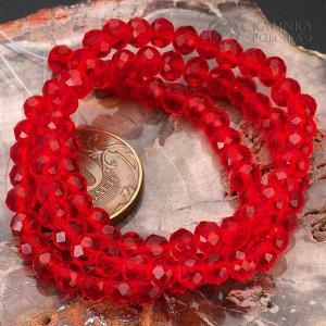 Рондели хрустальные, имитация Сваровски, цвет рубиновый, р-р 6х4.5мм, в нитке 45см/100 бусин.