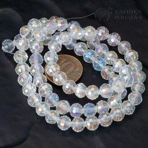 Хрустальные бусины имитация Сваровски, форма шар, бесцветные с AB покрытием, р-р 8м, отв-е 1мм, в нитке 72 бусины.