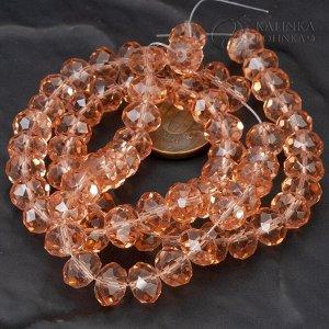 Бусины хрустальные рондели, имитация Сваровски, цвет винтажной розы, р-р 10х7мм, отв. 1.5мм, в нитке 72 бусины