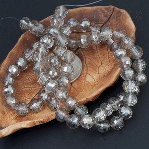 Хрустальные бусины имитация Сваровски, форма шар, бесцветные стальное покрытие, р-р 8м, отв-е 1мм, в нитке 72 бусины.
